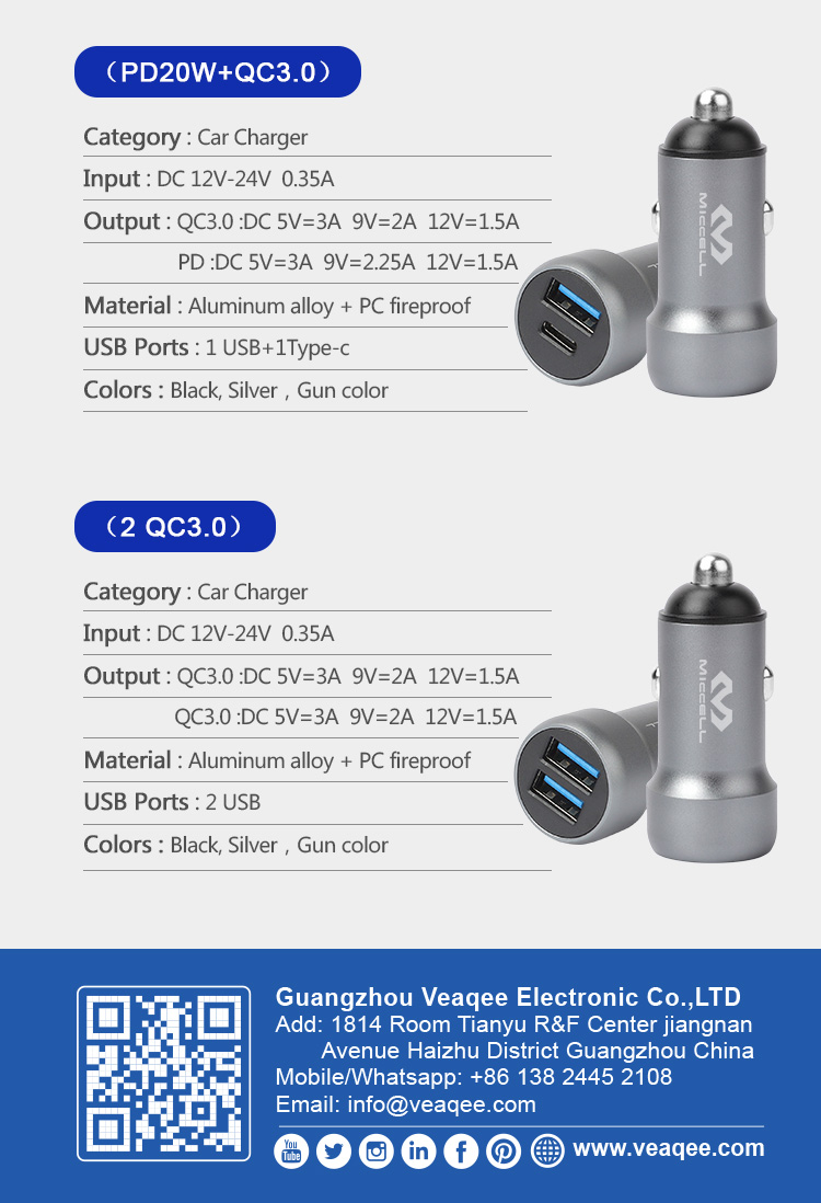 Wholesale PD 20W USB C adapter QC3.0 fast car charger for iphone 12 pro max (5).jpg