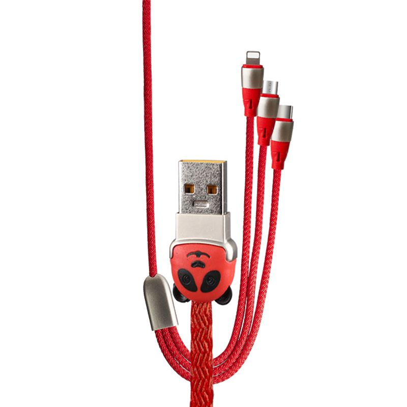 Cartoon bear design multi 3 in 1 fast charging data usb cable D71