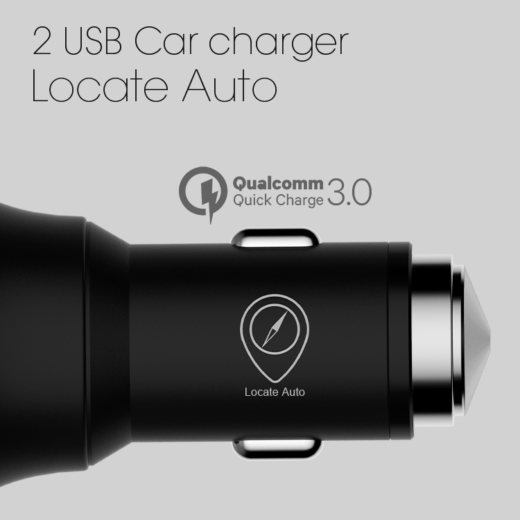 Veaqee New Locate Auto metal 2 usb ports car charger with led light for iphone and android