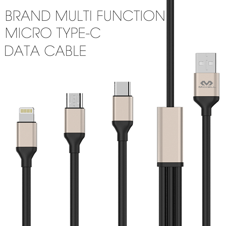 Multi function Micro Type-c data cable cord for iPhone 8 x(VQUC-1709)