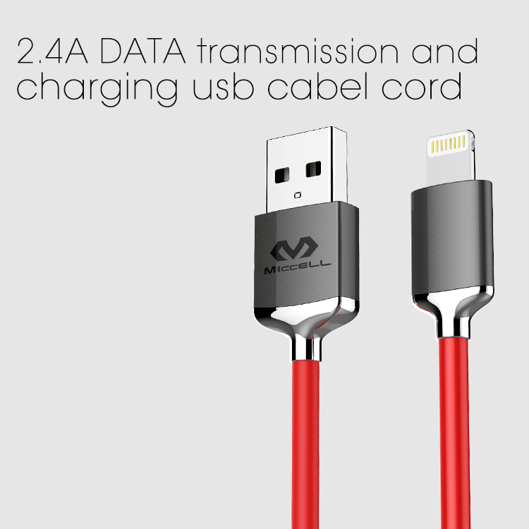 Veaqee manufacturer Miccell brand combine Nylon braided 2.4A DATA transmission and charging usb cabel cord(VQUC-1708)