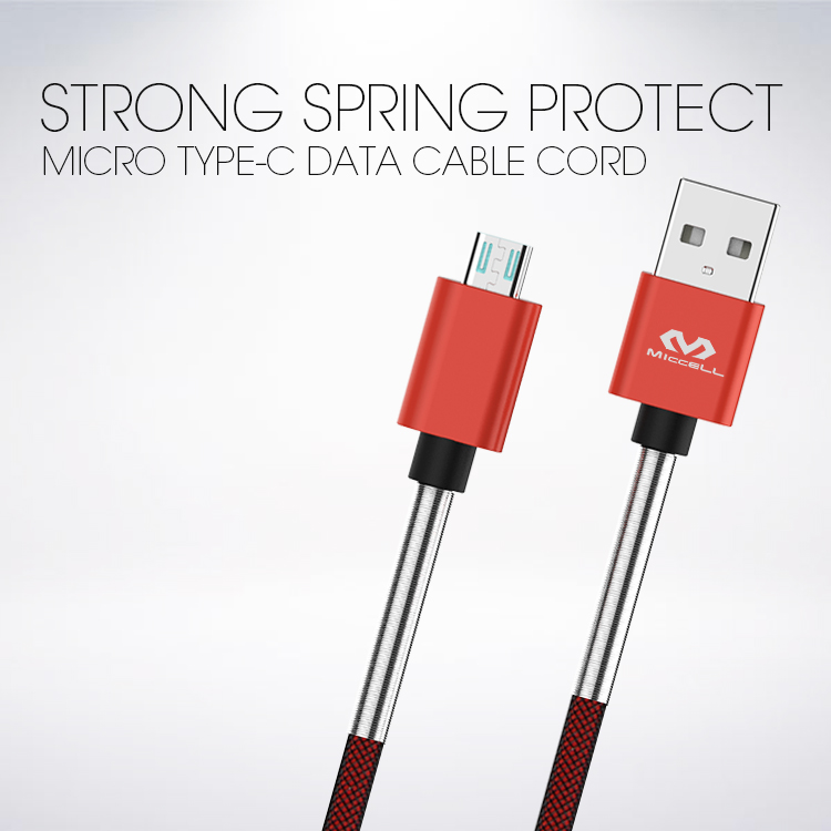 Veaqee manufacturer Miccell brand strong Spring protect Micro Type-c data cable cord( VQUC-1707)