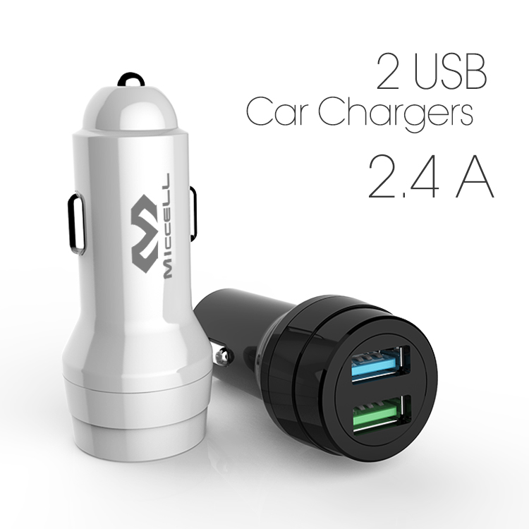 Veaqee Manufacturer Miccell Brand New Design 2 USB Ports 2.4 A Mobile Phone Car Chargers For SmartphoneVQ-C01-1